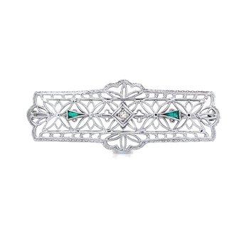 Emerald & Diamond Brooch