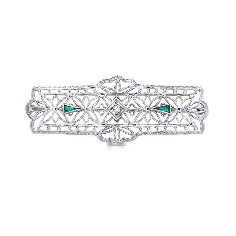 Previously Loved Emerald & Diamond Brooch