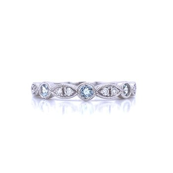 Aquamarine and Diamond Stackable Band