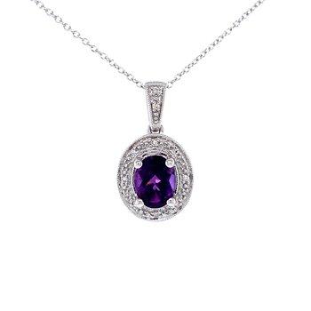 Oval Amethyst & Diamond Pendant