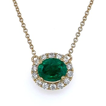 Sideways Emerald & Diamond Necklace