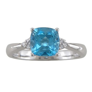 Blue Topaz Ring with Diamond Accent