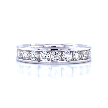 Channel Set Diamond Wedding Band 14kw-1ctw