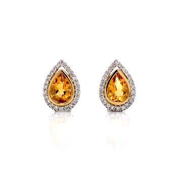 Citrine Pear Shaped Earrings