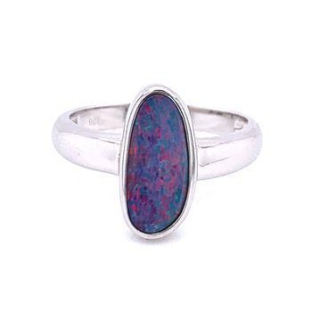 Opal Doublet Fashion Ring-Sterling