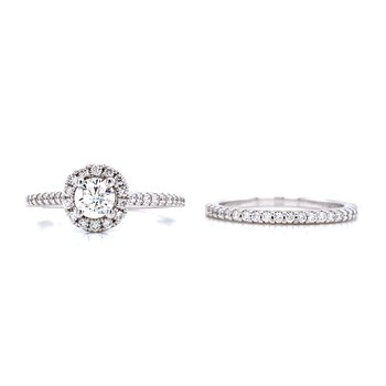 Romance Round Halo Wedding Set