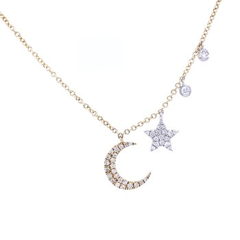 Moon and Stars Diamond Necklace