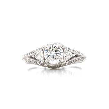 Trillion Accented Diamond Engagement Ring