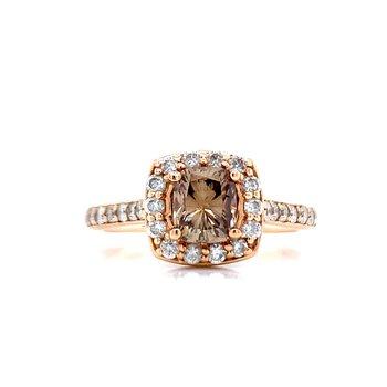 Cushion Cut Cocoa Colored Diamond Ring