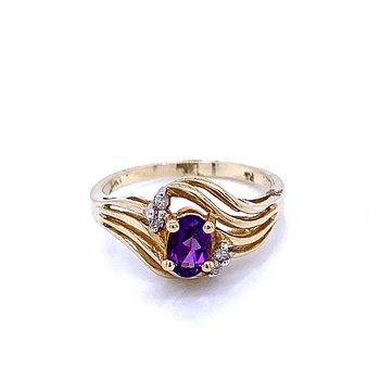 Amethyst Birthstone Ring with Diamond Accents
