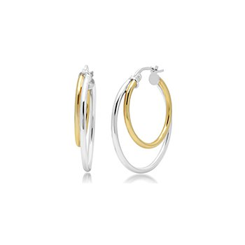Two Tone Sterling Double Hoops
