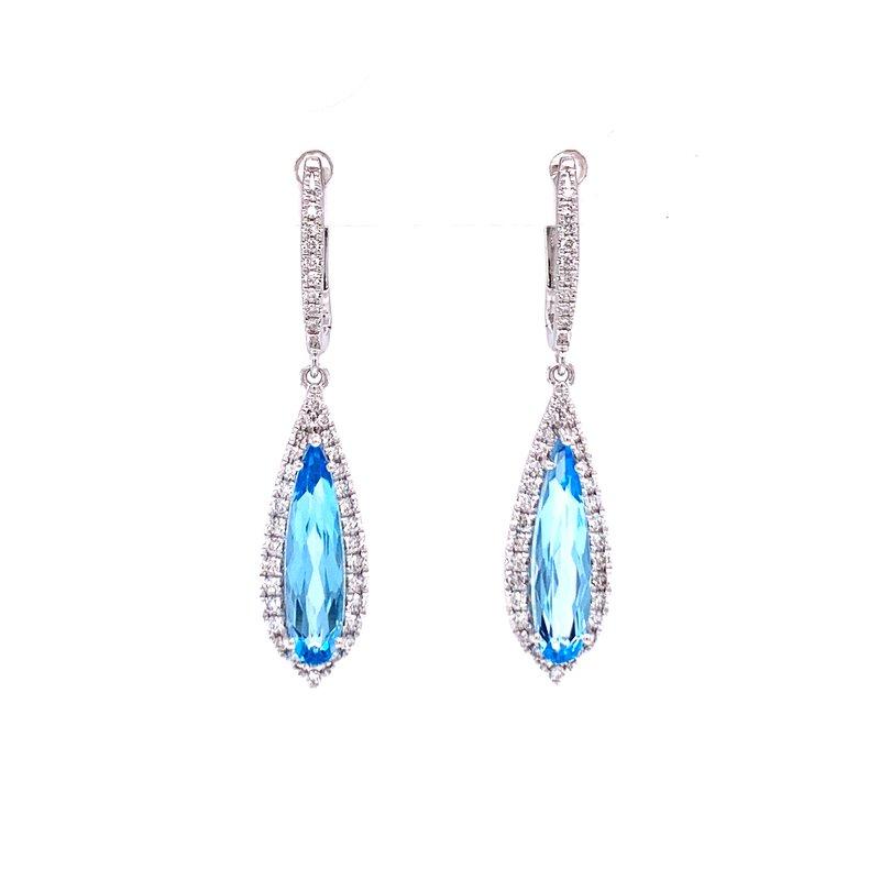 Bryan Beauties Beautiful Blue Topaz & Diamond Dangle Earrings