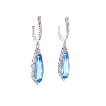 Beautiful Blue Topaz & Diamond Dangle Earrings