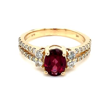 Dynamic Rhodolite and Diamond Ring