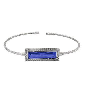 Rectangular Simulated BlueStoneCuff Bracelet-Sterling Silver