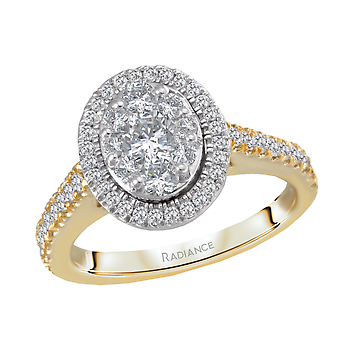 14KTT RADIANCE OVAL HALO DIAMOND ENGAGEMENT RING 7/8CTW,