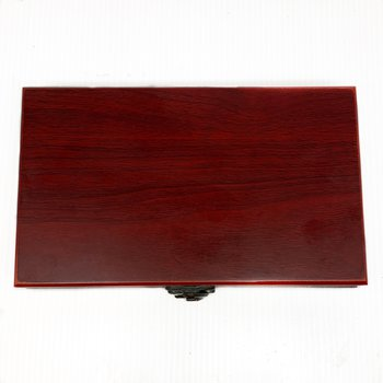Rosewood Finished Box with Two Decks of Cards and Dice