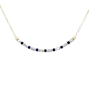 Curved Bar Diamond & Sapphire Necklace