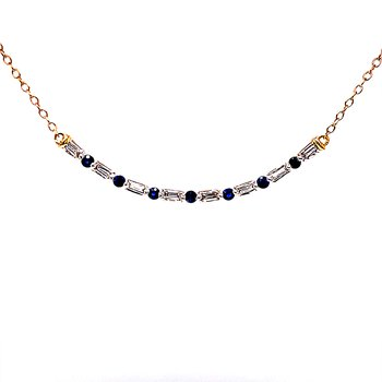 Curved Bar Diamond & Sapphire Necklace