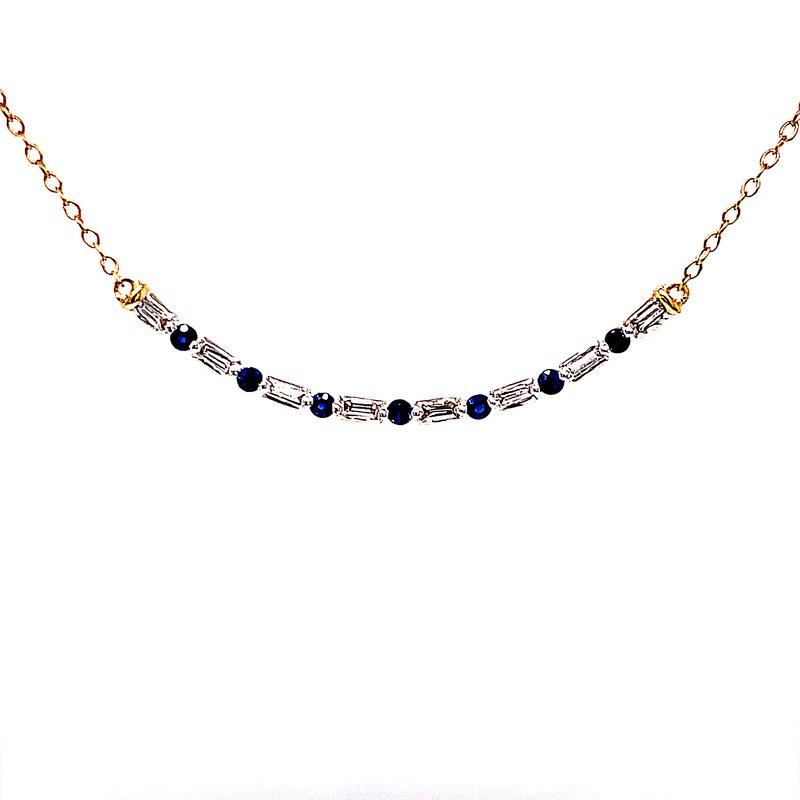 Bryan Beauties Curved Bar Diamond & Sapphire Necklace