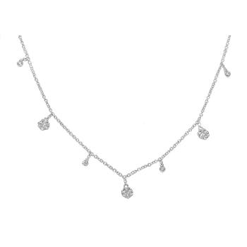 Diamond Charm Choker Necklace in 14kw