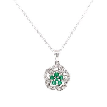 Emerald & Diamond Floral Fashion Cluster Pendant