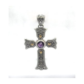 Ireland Cross with Amethyst Center