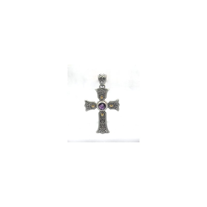 Bryan Beauties Ireland Cross with Amethyst Center
