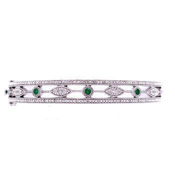 Vintage Style Emerald & Diamond Bangle