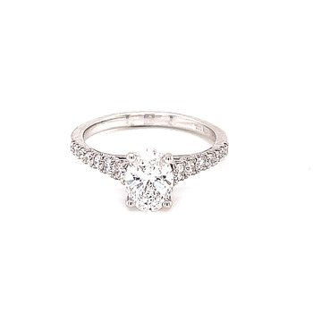 Oval Diamond Engagement with Pave' Shank
