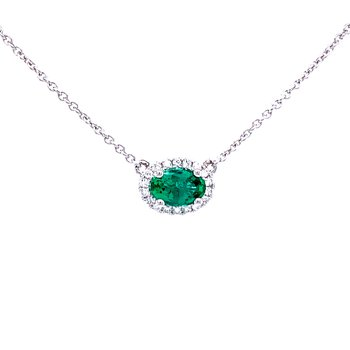 Sideways Oval Emerald & Diamond Necklace-18k