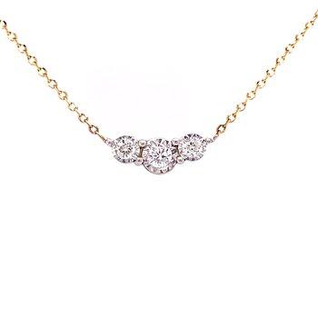 Three Stone Diamond Necklace-14ky