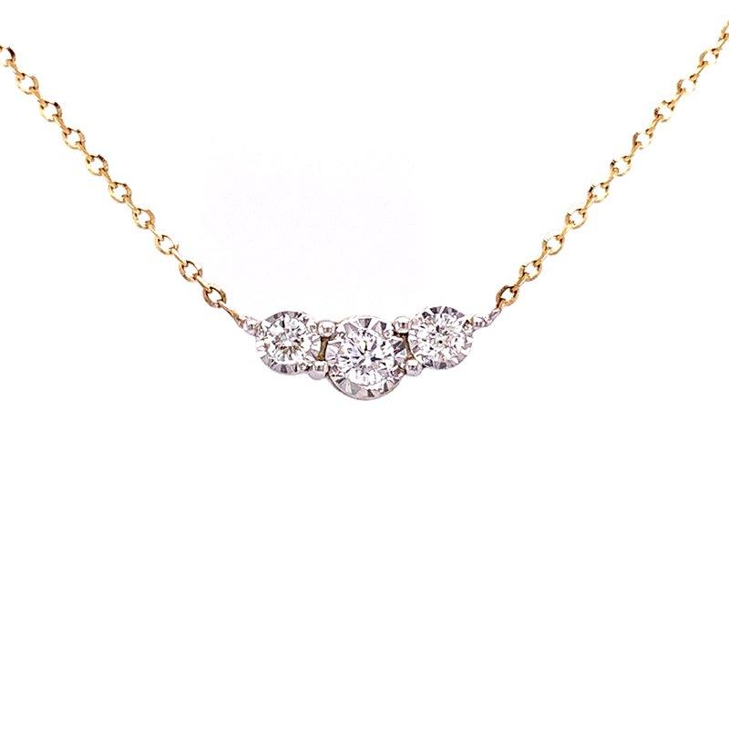 Bryan Beauties Three Stone Diamond Necklace-14ky