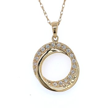 Gold Circle Diamond Pendant