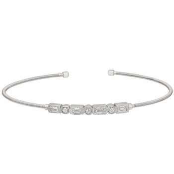 Emerald and Round CZ Cuff Bracelet