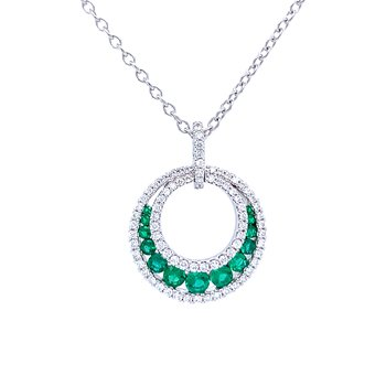 Circle Emerald & Diamond Gemstone Pendant