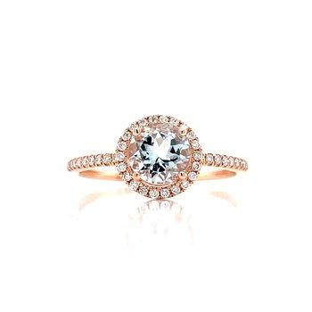 Rose Gold Aquamarine & Diamond Halo Ring