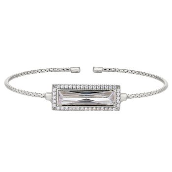 Rectangular Simulated ColorlessStoneCuff Bracelet-Sterling Silver