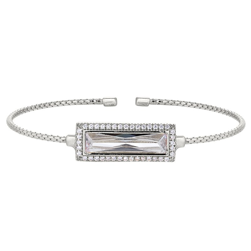 Bryan Beauties Rectangular Simulated ColorlessStoneCuff Bracelet-Sterling Silver