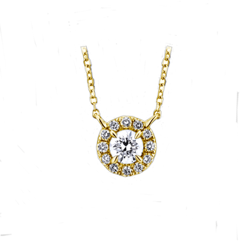 Round Diamond Halo Pendant -14ky