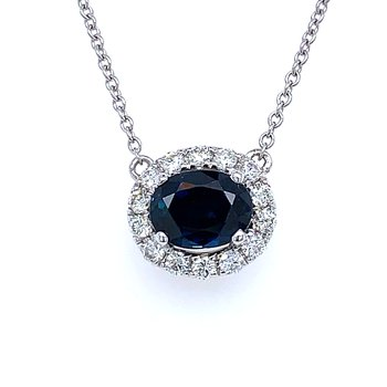 Sideways Sapphire & Diamond Necklace