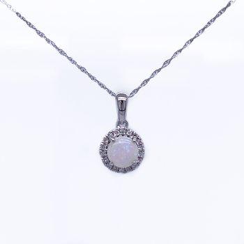 Opal and Diamond Halo Pendant
