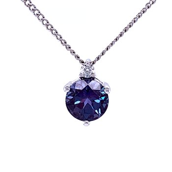 Solitaire Created Alexandrite with Diamond Pendant
