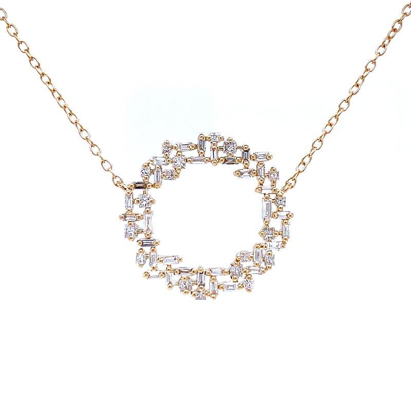 Bryan Beauties Baguette & Round Diamond Circle Necklace