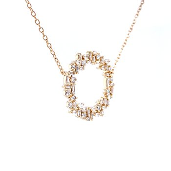 Baguette & Round Diamond Circle Necklace