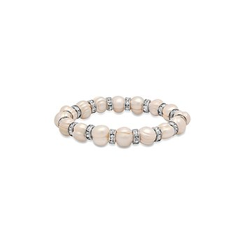 7mm Fresh Water Pearl Stretch Bracelet with Crystal Rondells