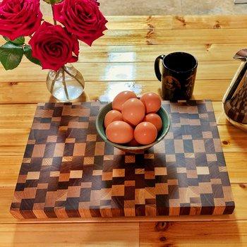 Random Block Walnut and White Oak Serving Board