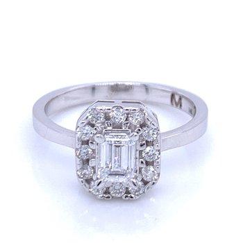 Emerald Cut Halo Diamond Ring 1ctw
