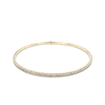 Flexible Diamond Line Bangle Bracelet-14ky