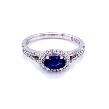 East to West Halo Sapphire Ring